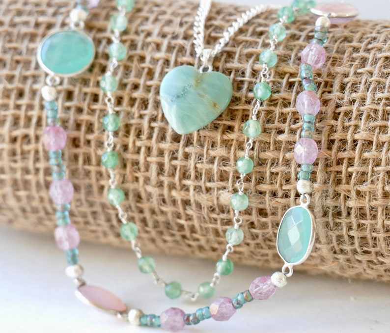 Boho Chic Jewelry Green Jewelry Long Gemstone Tiny Heart Necklace Pink Beaded Layering Necklace For Women Layered Necklace Set