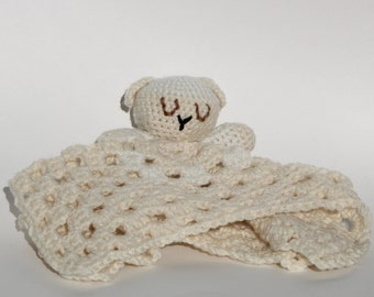 Lamb Lovey // Crochet Lovey // Security Blanket // Lamb Blanket