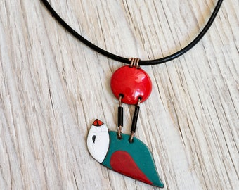 Enamel Necklace, Bird Necklace, Bird With Cherry, Enamel Pendant, Cherry Necklace, Cherry Pendant, Bird Pendant, Enamel Jewelry, Enamelled,