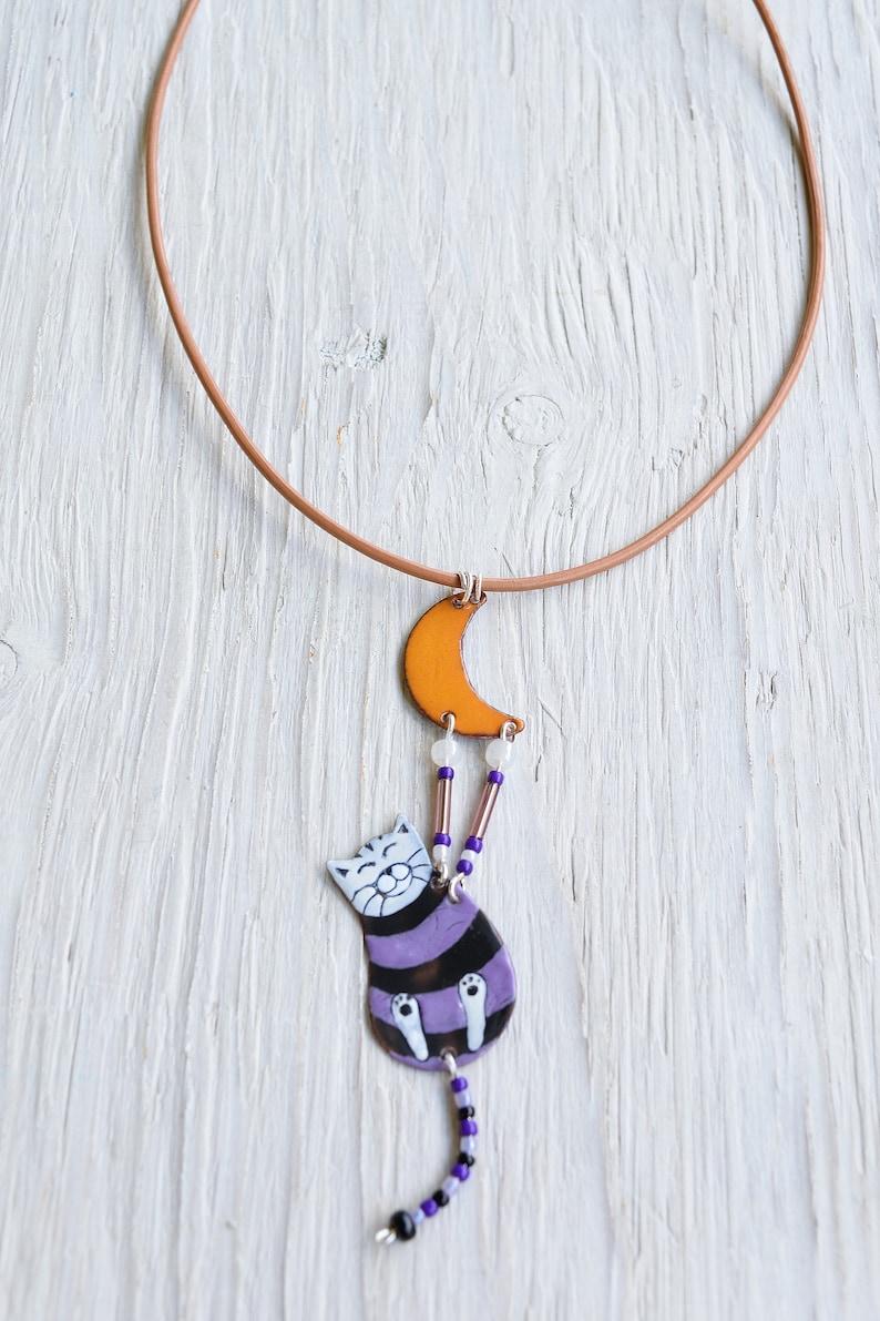 Enamel Necklace Striped Jewelry Moon, Moon Jewelry Cat Jewelry Enamel Cat Orange Cat and Moon Purple Cat Striped Cat Cat Necklace