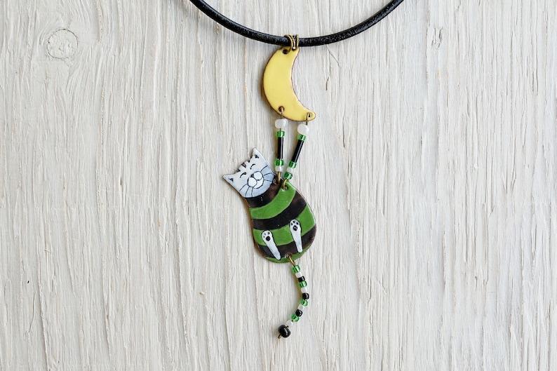 Enamel Cat Green Cat Irish Cat,, Enamel Necklace Cat and Moon Cat Jewelry Striped Cat Moon Jewelry Cat Necklace Striped Jewelry