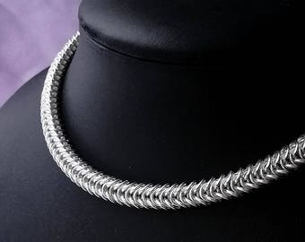 Viking necklace.  Sterling silver box chain necklace. Box chainmaille. Silver chainmaille necklace. Viking jewellery. Gift for him. Nordic.
