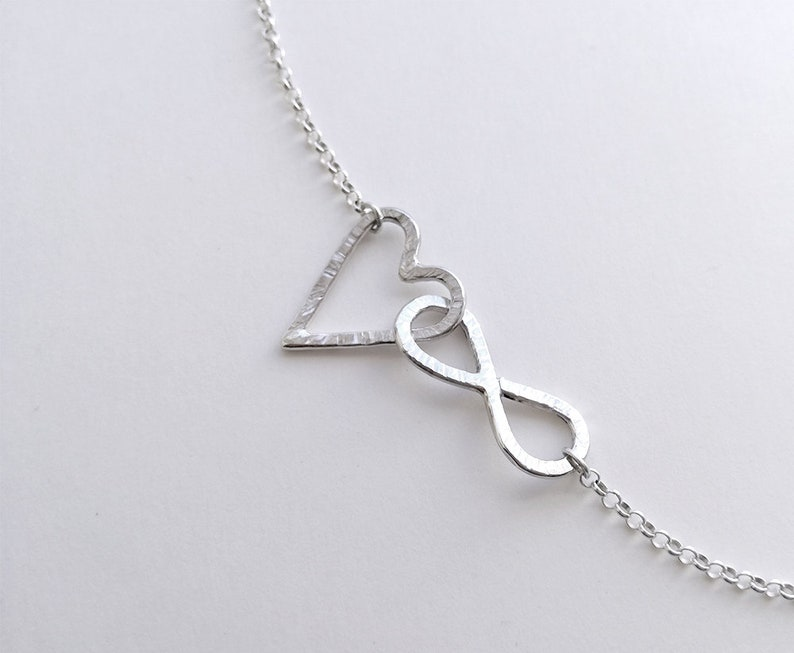 Submissive day collar Discreet day collar bdsm Sterling silver choker Infinity necklace Scandinavian design. Heart pendant necklace