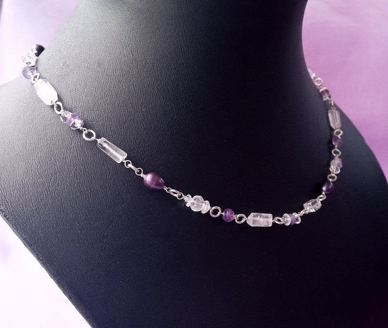 Rock amethyst crystal necklace sterling silver chain