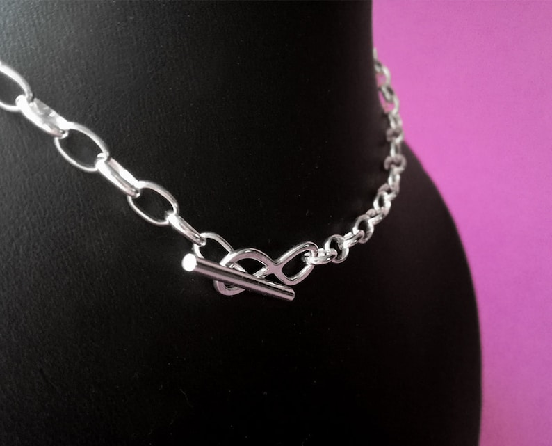 Discreet day collar bdsm Silver infinity necklace. Submissive day collar Silver choker Scandinavian silver infinity toggle necklace