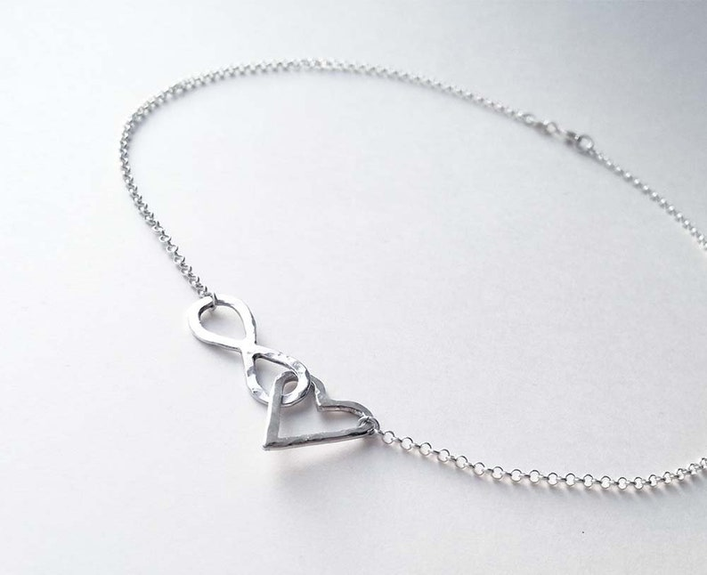 Discreet day collar bdsm Infinity necklace Scandinavian design. Heart pendant necklace Sterling silver choker Submissive day collar