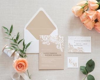Vintage Lace Wedding Invitation Set