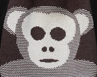 monkey + bananas · knitted drawstring bag · backpack