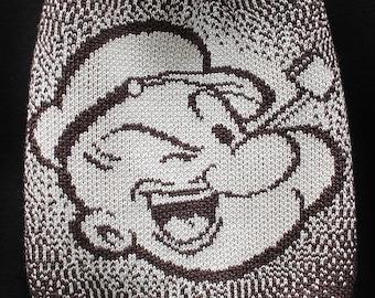 popeye + liquid pattern · drawstring bag · knitted backpack