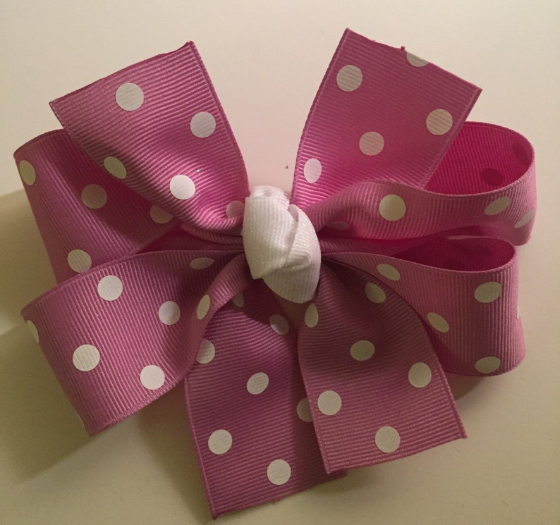 Purple Polka Dot Pinwheel Bow