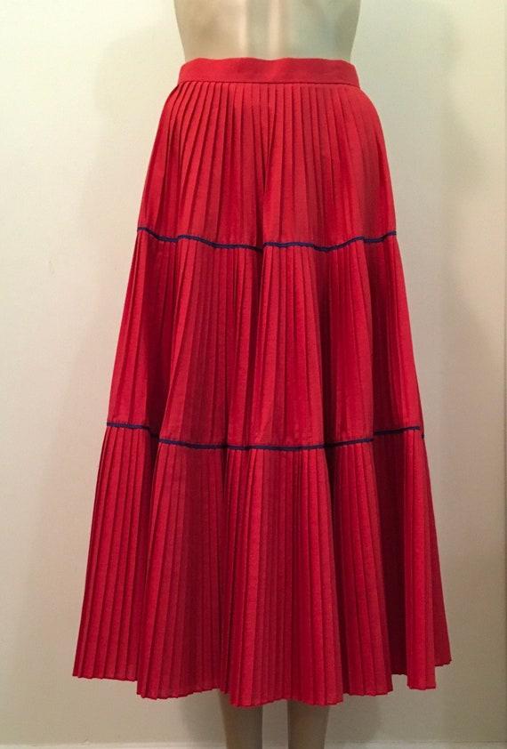 Vintage Prairie Style Skirt in Red.  Full length p