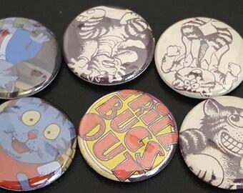 "6 Fritz The Cat 1"" Buttons/Pinbacks/Badges Robert Crumb Rare Retro Animation Classic Cartoon Alternative"