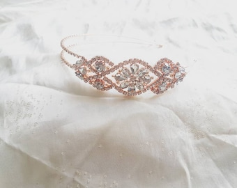 Rose Gold Crystal and Diamante Vintage Head Band Fascinator