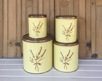Vintage Kitchen Canister Set, Decoware, Metal, Yellow, Cattails, Vintage Kitchen, Storage, Cottage Style