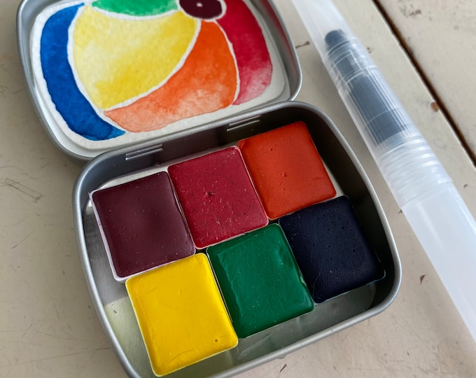 Featured listing image: Watercolor paint Handmade kit Mini CONCLAVE set Includes - 6 half pans - Tin and Waterbrush