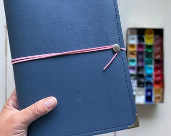 Slate Gray Vegan Leather Watercolor Journal Peregrine Notebook Pink Wrap Cording 40 pages LEGION 140 Lb. COLD pressed paper