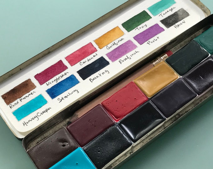 Featured listing image: Limited Edition Watercolor Handmade Paint 12 WHOLE pans  watercolor paint set in vintage Pencil Tin - Choose Your Own Paints