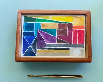 Limited Edition Watercolor Handmade Paint 30 Half pans watercolor paint in VINTAGE Cigar wooden box with glass top with Traveler Tiny Brush