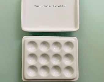 Porcelain Paint Palette with Small Cover/Mixing Tray 12 wells