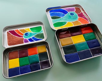 Watercolor travel paint palette tin - MOB kit - 12 half pans or 12 Whole pans - free water brush - free shipping in US