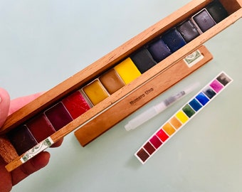 Adorable Watercolor Paint Set in Vintage Cigar Box 13 HALF Pans - Free Shipping in US