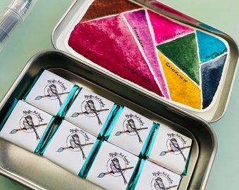 Choose your own 8 HALF or 8 WHOLE PANS - Handmade Watercolor paint set with Tin and Free Water brush
