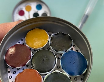 Handmade watercolor paint palette LIMITED edition 7 ceramic pan in vintage Typewriter Tin