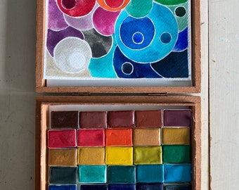 Limited Edition Watercolor Handmade 35 WHOLE PANS in Vintage Cigar Box