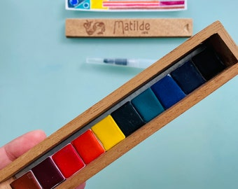 Adorable Watercolor Paint Set in Vintage Cigar Box 10 HALF Pans - Free Shipping in US
