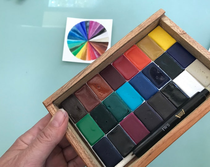 Featured listing image: Fine Watercolor Handmade Paint 24 WHOLE pans non toxic watercolor paint set in VINTAGE Cigar wooden box glass top Free shipping US