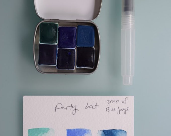 Watercolor handmade travel paint palette tin PARTY kit Includes - 6 half pans - Free Tin and Waterbrush included
