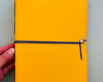 Large Bright Yellow Leather Watercolor Journal with 40 pages LEGION 140 Lb, 300 gsm HOT pressed watercolor paper