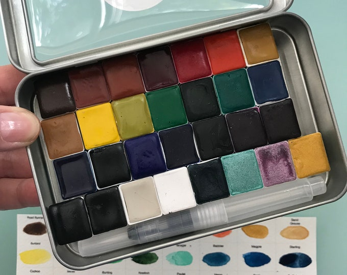 Watercolor Kit Handmade Set of 25 or 29 HALF pans of our watercolor paint kit - Comes with Tin and Water brush and Free Shipping in US