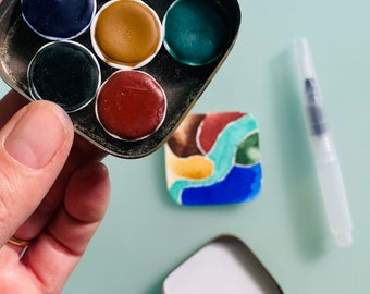 Handmade watercolor paint palette LIMITED edition 6 porcelain well- vintage Typewriter Tin - Free Shipping in US