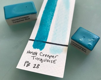 Handmade Watercolor paint PB8 Honey Creeper Turquoise Blue  artist paint HALF and WHOLE Pans  - Non toxic