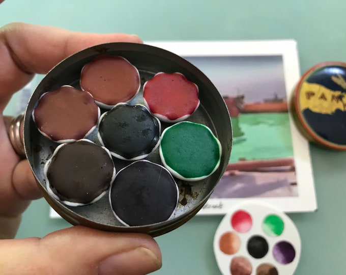 Handmade watercolor paint palette LIMITED edition 7 porcelain well- in vintage Typewriter Tin - Inspired by Eliot O'Hara  with Water Brush