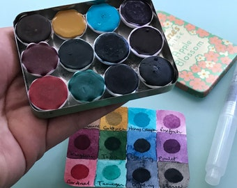 Handmade watercolour paint palette LIMITED edition 12 porcelain well- in vintage Incense Tin - Free Shipping in US