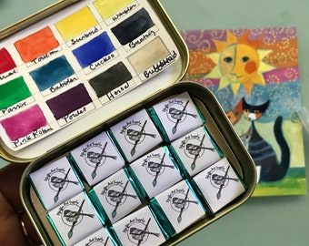 Handmade watercolor paint palette LIMITED edition 12 half pan in Tin inspired by Rosina Wachtmeister