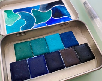 Watercolor handmade travel paint palette tin PARTY kit Includes - 9 half pans - Free Tin and Water brush included