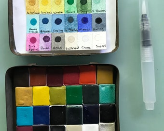 Handmade watercolor paint palette LIMITED edition 24 HALF PAN (with 4 sparkly Mica) - in vintage Tobacco Tin Free shipping in United States