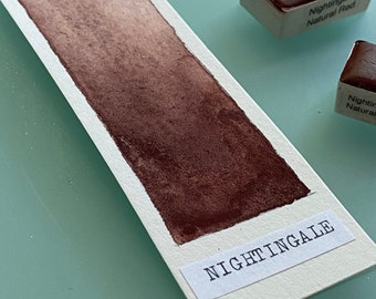 Handmade Watercolor paint R102 Nightingale Natural Red artist paint HALF and WHOLE pans - Non toxic