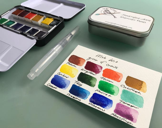 Watercolor travel paint palette tin - MOB kit - 12 half pans and waterbrush included