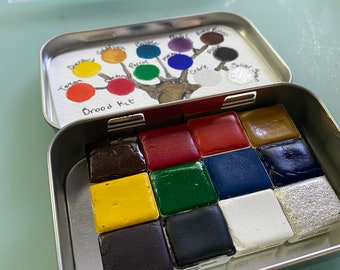 Watercolor Beginner Paint Set - BROOD kit - 12 half pans and water brush included