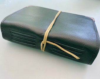 Hunter Green Leather Watercolor Journal Sketchbook with  40 pages Arches HOT Pressed 140lb watercolor paper