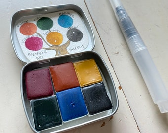 Watercolor handmade travel paint palette tin Mini Tin RAFTER kit Includes - 6 half pans -  Free Tin and Waterbrush included
