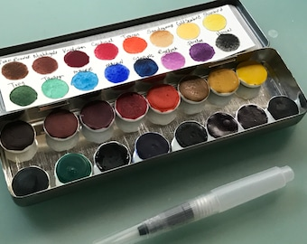 Limited Edition Watercolor Handmade Paint 16 ceramic half pans  watercolor paint set in vintage Pencil Tin  FREE Shipping in U.S