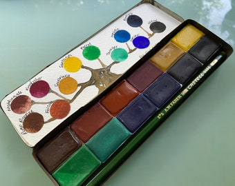 Watercolor Paint Handmade 12 WHOLE PAN Palette Limited Edition in Vintage Pencil Tin