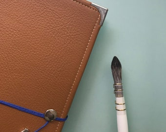 Tan Leather Watercolor Journal - Sketchbook - Peregrine Notebook Pink Cording 40 pages ARCHES 140 Lb. HOT pressed paper