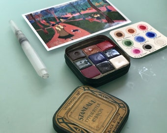 Handmade watercolor paint palette LIMITED edition 9 half pan in vintage Typewriter Tin Inspired by Andre Derain