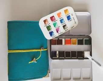 Watercolorist journal and 12 half pan watercolr kit Bundle - Save on this set